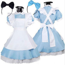 Halloween Vrouwen Adult Anime Alice In Wonderland Blue Party Dress Alice Droom Vrouwen Sissy Maid Lolita Cosplay Kostuum(China)