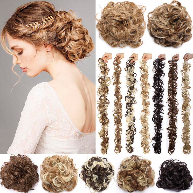 S-noilite 14color Synthetic Messy Chignon Hair Rubber Band Hairpieces Hair Bun Updo Hair Extension Scrunchie Curly Chignon 85g