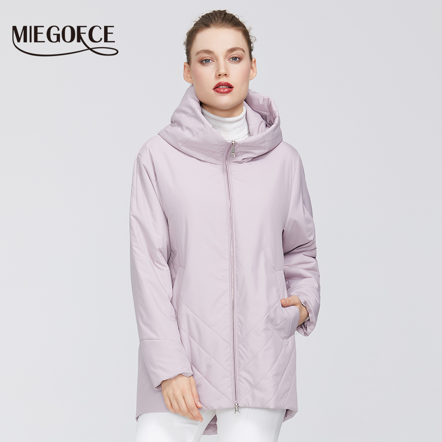 MIEGOFCE 2020 New Collection Women's Cotton Windproof Warm Spring Jacket Medium-Long Resistant Hooded Collar Women's Jacket Coat