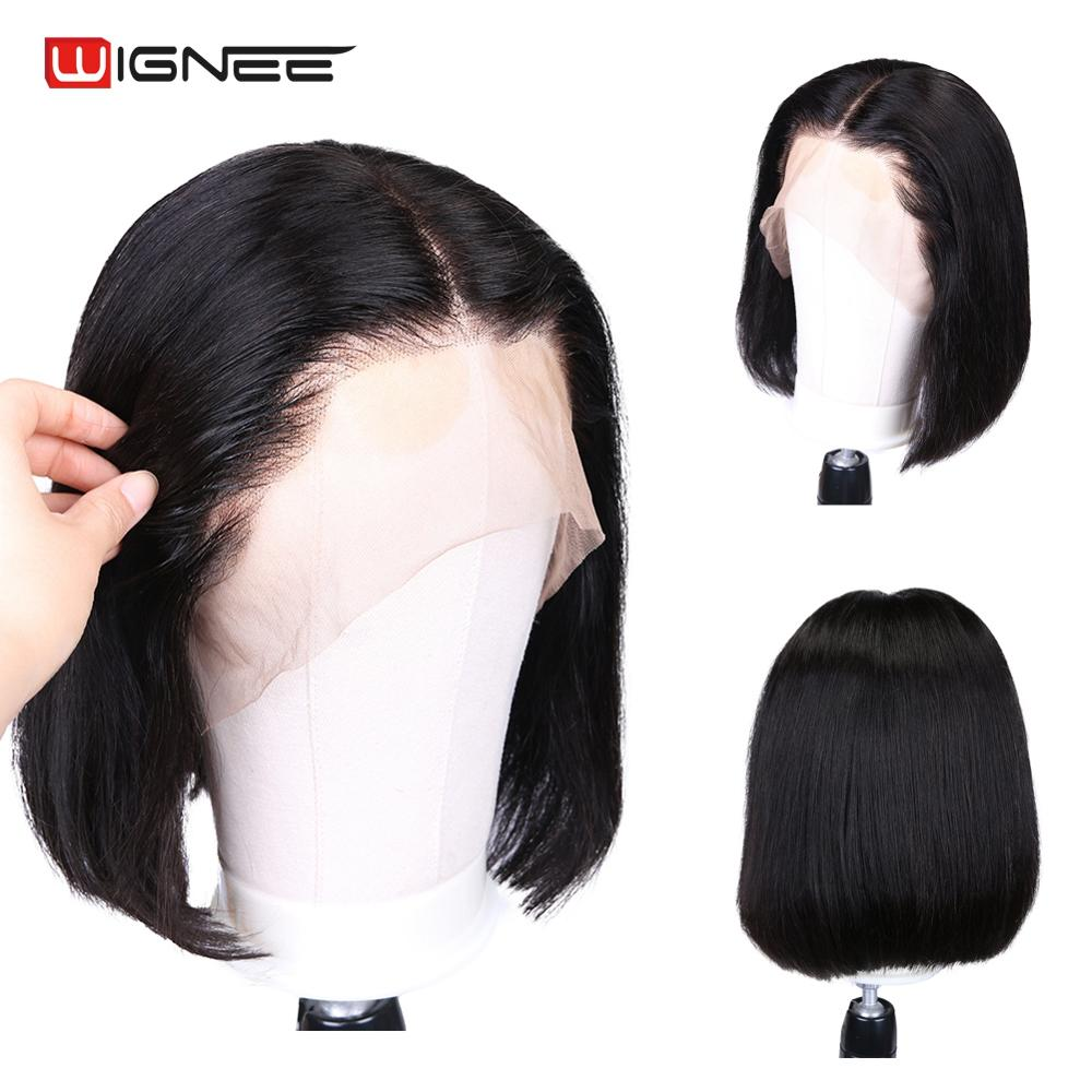 Wignee Short Straight Bob Hair Human Wigs With Baby Hair For Black Women 150% High Density Lace Front Glueless Natural Human Wig