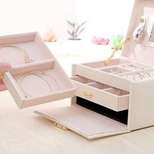 Image 4 - Prinses Stijl Sieraden Doos Lederen Sieraden Doos Cosmetische Box Jewel Case Upscale Sieraden Organisator Verjaardagscadeau Huwelijkscadeau