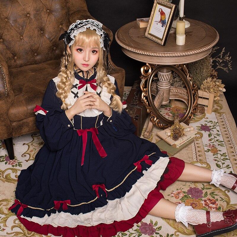 Lolita quotidien Double couche robe à volants japonais Lolita lanterne manches poupée col noeud taille haute OP à manches longues robe de princesse