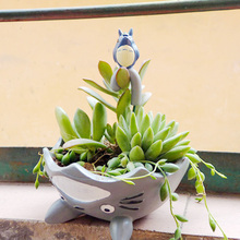 9 colors Creative cartoon Figurine dragon cat little prince umbrella fleshy plant micro-landscape resin flowerpot succulent pot