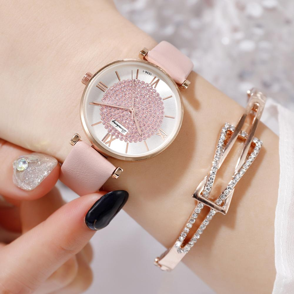 Retro Fashion Rose Gold Watch Frame Quartz Watch Set Diamond Mirror PU Watch Women's Watches A74 A75 A99