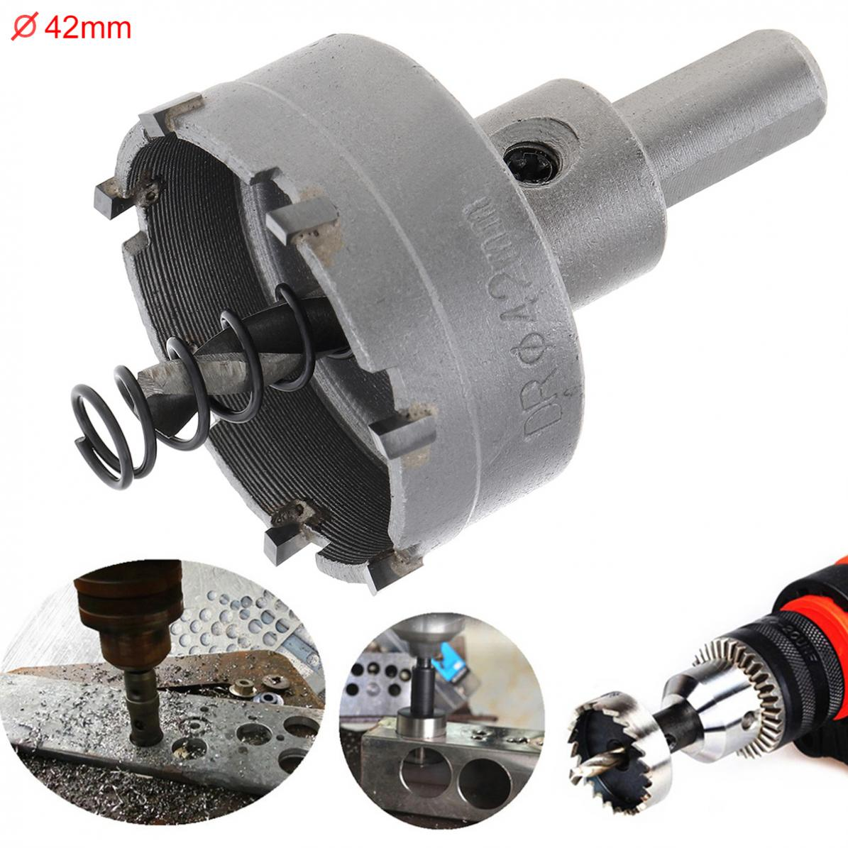 42MM Universal Hole Saw Carbide Cutter Head HSS Drill Set Hole For Steel / Aluminum Alloy / Metal Plate / Iron Plate