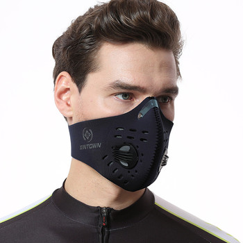 #H30 Dustproof Cycling Face Mask Activated Carbon Dust Mask with Extra Filter  Cotton Breathable Dustproof  Windproof Mouth Mask 1