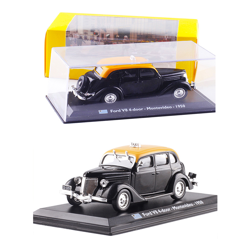 <font><b>1:43</b></font> Scale1950 TAXI <font><b>Ford</b></font> V8 4-door Montevideo Diecast Alloy Car <font><b>Model</b></font> Toy for Kids Matel Gifts Collection Original Box Static image
