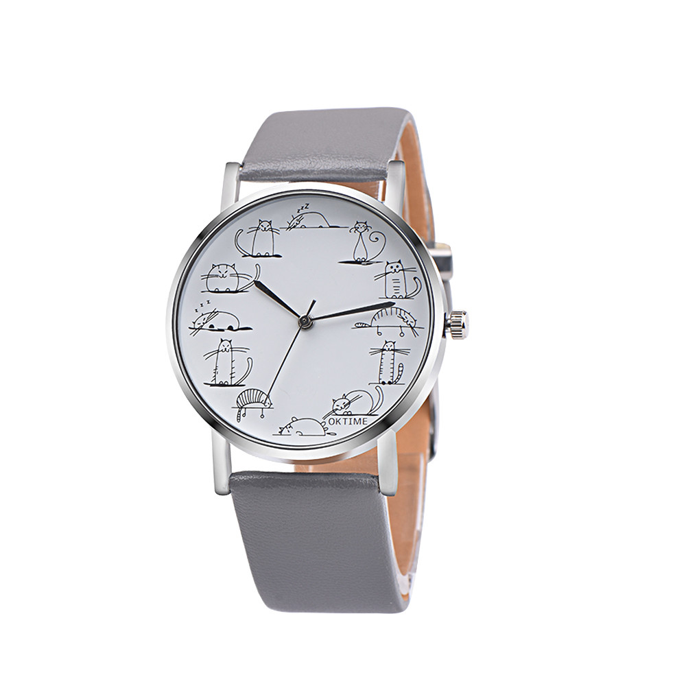 2019 Fashion Men Women Watch Lovely Cat Student Watches Leather Band Analog Quartz Wrist Watch Erkek Kol Saati Reloj Hombre %N