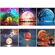 6 Pack Full Drill Diamond DIY Painting Set, Rhinestone Moon Picture Home Wall Decoration (Canvas 30.48 x 30