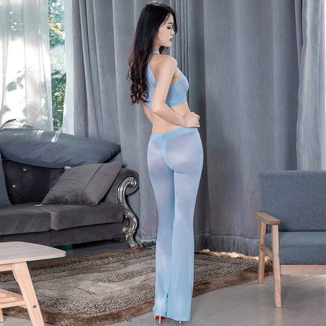 Super Thin Transparent Sexy Clubwear Leggings See Through Oil Glossy Shiny Zipper Open Crotch Flare Pants Elastic Hollow Top Set 4