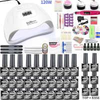 Набор для ногтей 120 Вт УФ светодиодный светильник Сушилка, а так же 30/20/10 цветов набор гель-лаков для ногтей, набор инструментов для ногтей Ге...