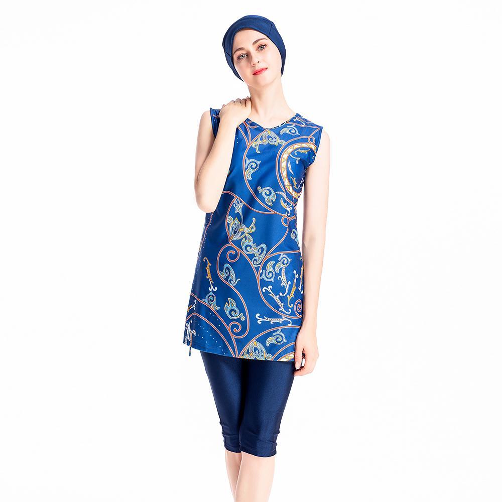 Muslim Swimwear Women Beachwear Burkini Sleeveless Printed Swimsuit Costume Arab Islamic Bathing Suit 3PCS Swimming Clothing New