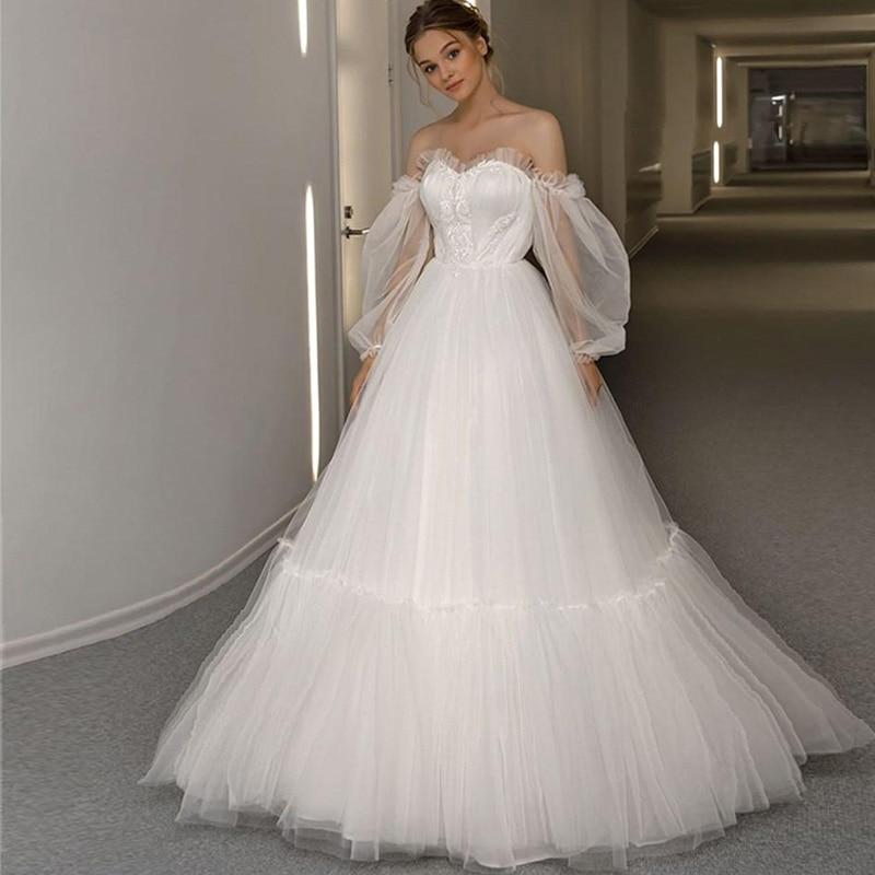 2020 A-Line Tulle simple Wedding Dresses Lace Up Off the Shoulder Long Puff Sleeves Sweep Train Bridal Dress Vestido de novia