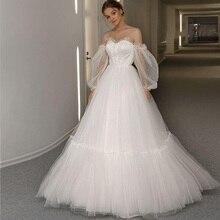 2020-line тюль Простые свадебные платья кружева с плеча длинные рукава развертки поезд платье Vestido де novia для новобрачных