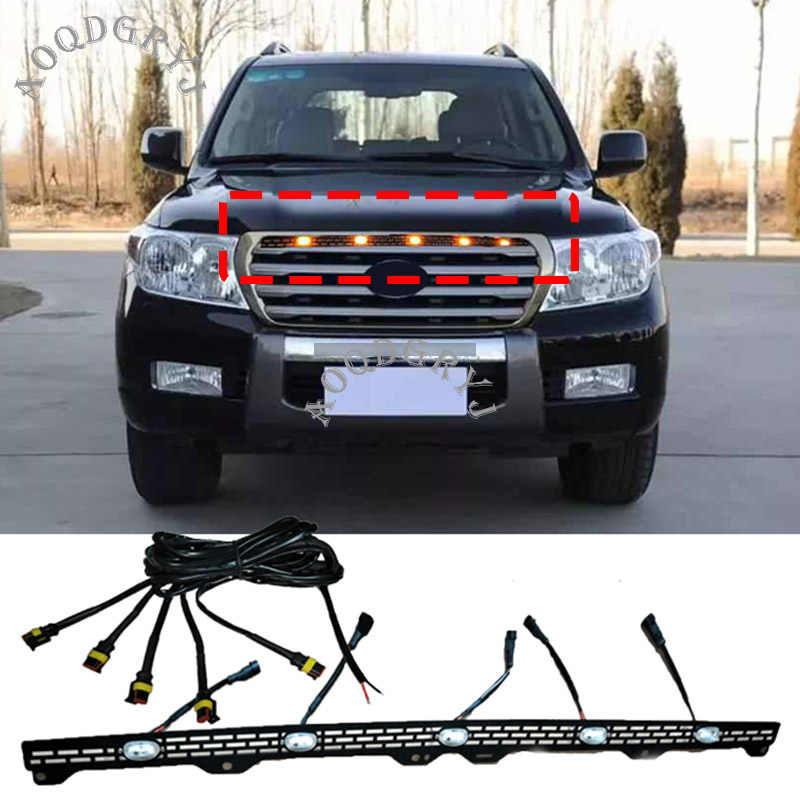 1pcs Auto Styling Accessoires LED Voorbumper Grille Licht Bars Decoratie Voor Toyota Land Cruiser LC200 2012-2015