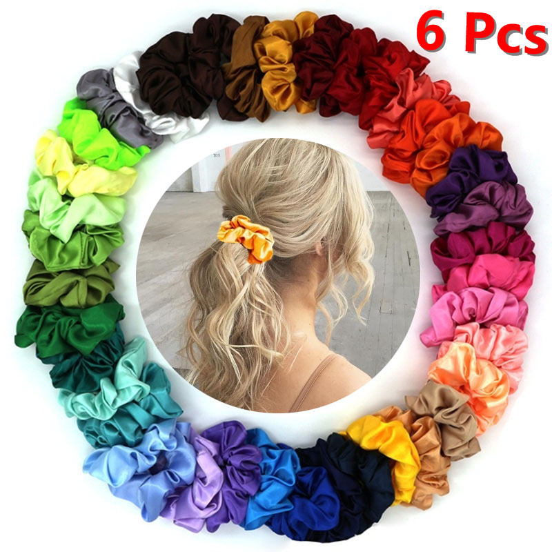 4/6Pcs Fashion Set Women Silk Solid Scrunchie Pack Elastic Satin Hairband Girls Hair Tie Hair Rope Hair Accessories Random Color