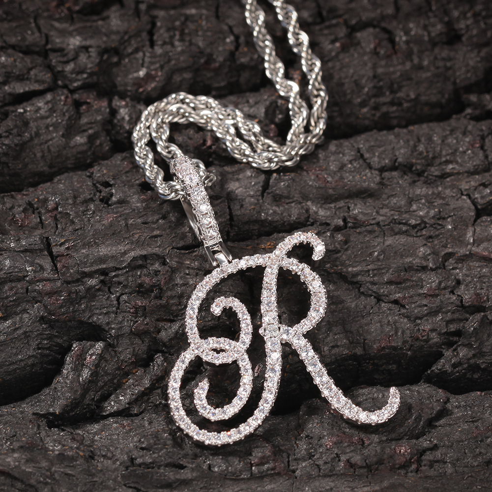 THE BLING KING CZ Custom Artistic fontInitial Letter Pendant Necklace Iced Out Cubic Zirconia Mens Women Jewelry