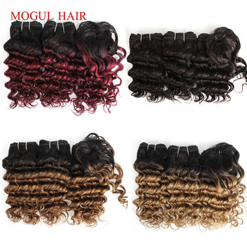 MOGUL HAIR Deep Wave Short Bob Style Ombre Non Remy Human Hair Natural Color Ombre Honey Blonde 155g/set Brazilian Hair Weave