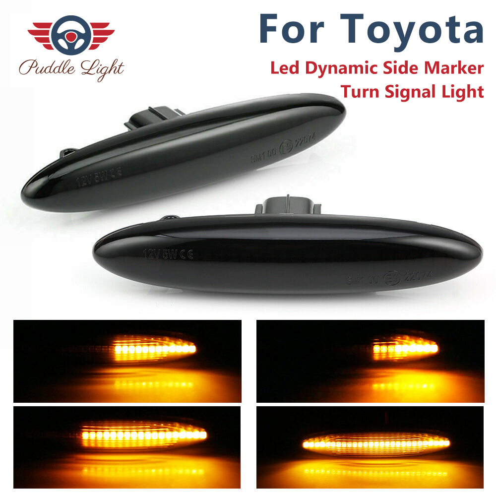 2x Led Dynamic Side Marker Turn Signal Light for <font><b>Toyota</b></font> <font><b>Highlander</b></font> Mark X Camry ACV40 Kluger GSU 4 Soarer S18 Crown Royal Saloon image