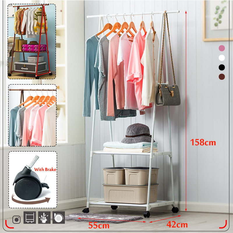 Clothes Rack Floor Standing Clothes Hanging Storage Shelf Clothes Hanger Racks With Wheel Simple Style Bedroom FurnitureN