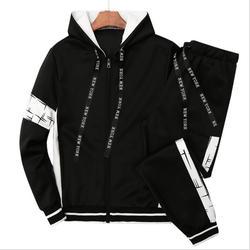 Мужской повседневный однотонный спортивный костюм с принтом, куртка на молнии + спортивные штаны, осенний мужской спортивный костюм с капюш...
