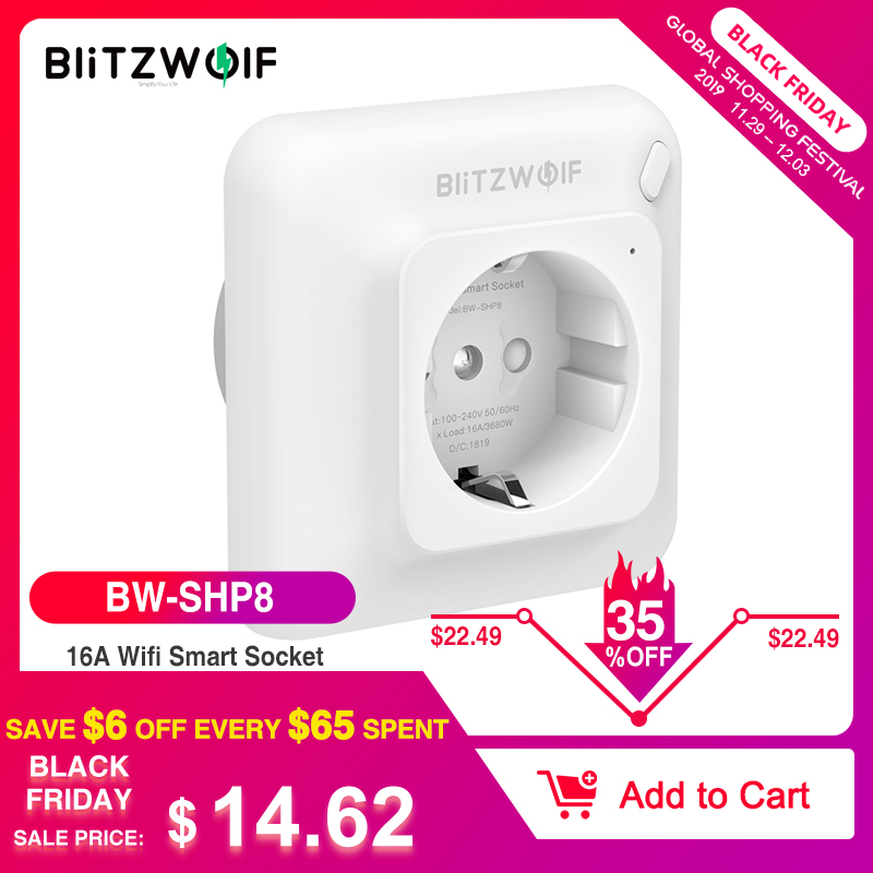 BlitzWolf BW-SHP8 3680W 16A Smart WIFI Wall Outlet EU Plug Timer Remote Control Power Monitor Work With Alexa Google Assistant