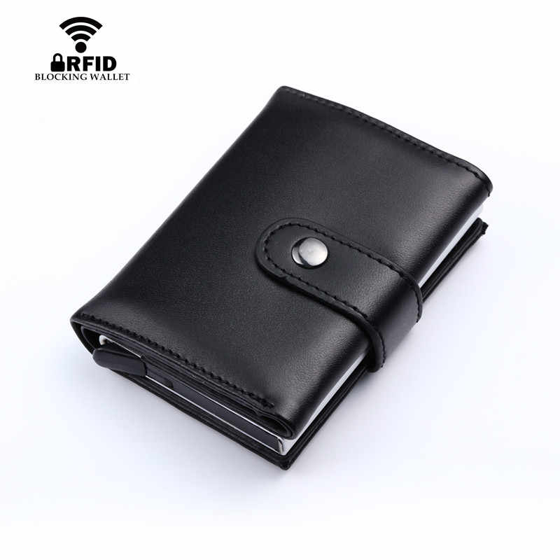 BISI GORO Lederen Credit Kaarthouder Vintage Portemonnee Portemonnee Aluminium Doos RFID Anti-diefstal ID Card Case Cash kleine Portemonnee