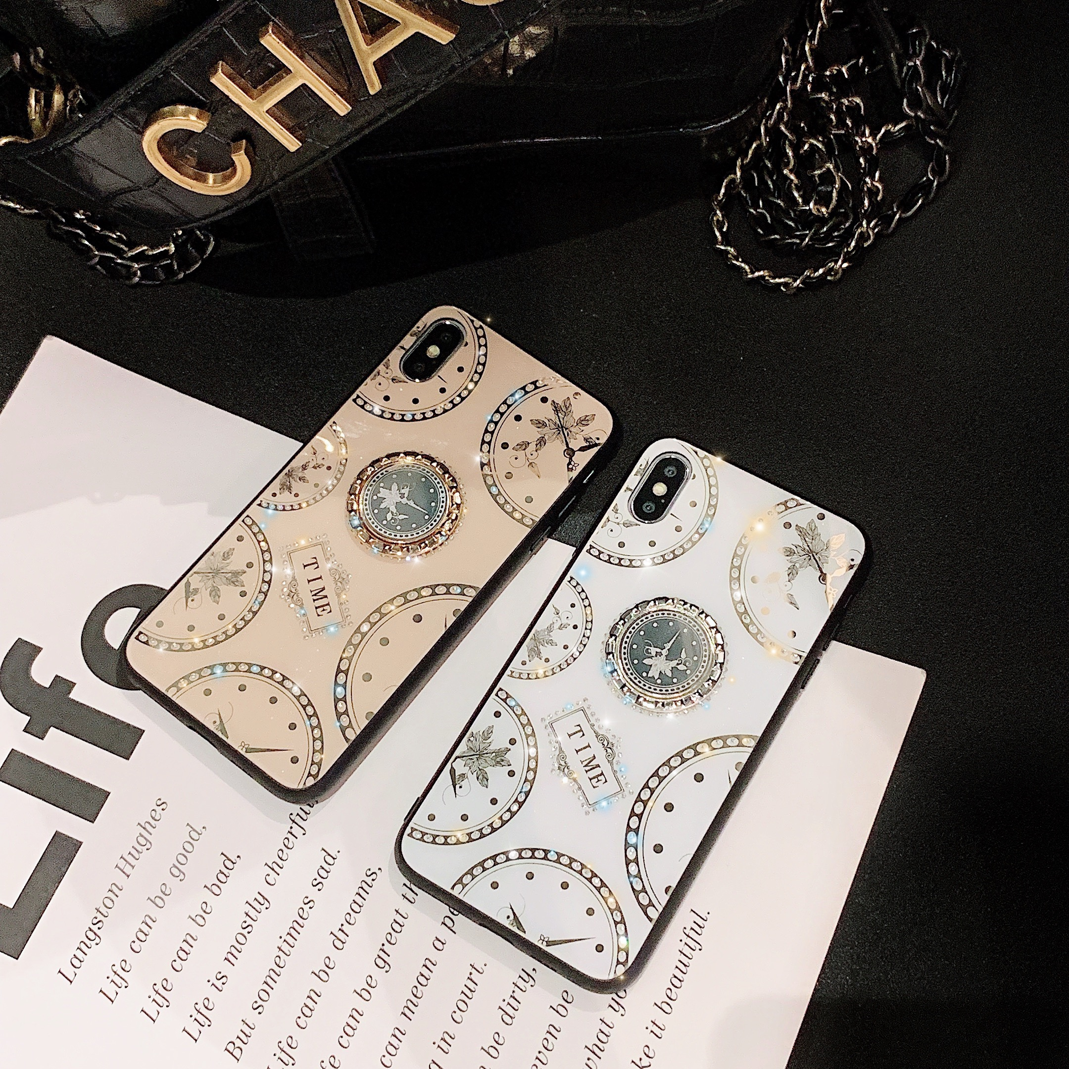 Glitter <font><b>Diamond</b></font> Phone <font><b>Case</b></font> for <font><b>Huawei</b></font> <font><b>P20</b></font> P30 Pro Mate 20 Nova 5 5i Rhinestone Clock Finger Holder <font><b>Case</b></font> for Honor 9X 8X 10i 20 image