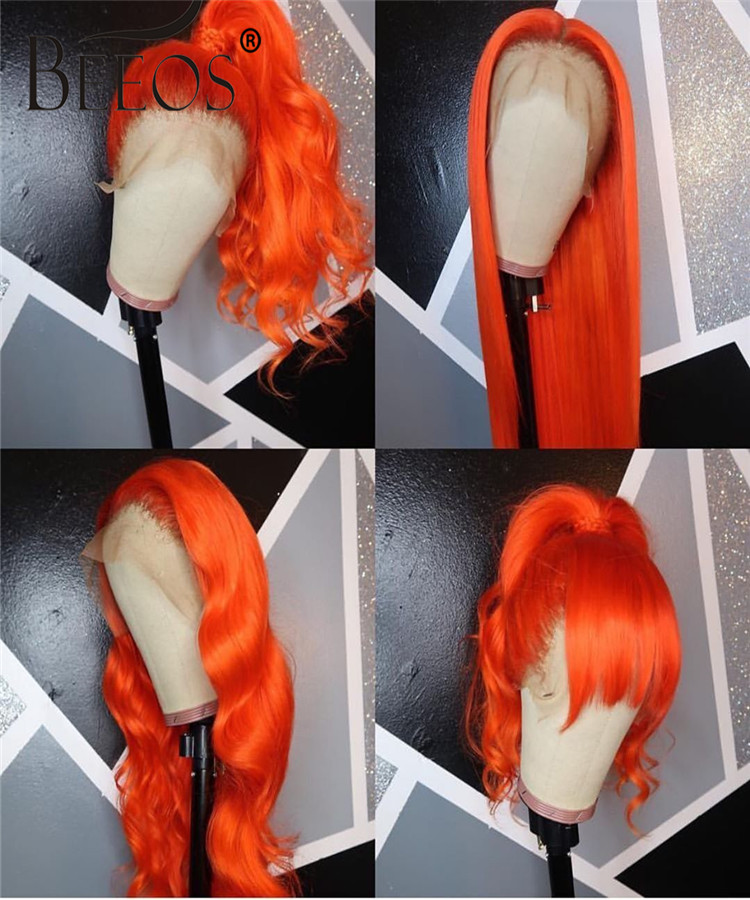 Beeos Fake Scalp Orange Transparent Straight 13*6 Lace Front Human Hair Wigs With Pre Plucked Baby Hair Brazilian Remy Hair