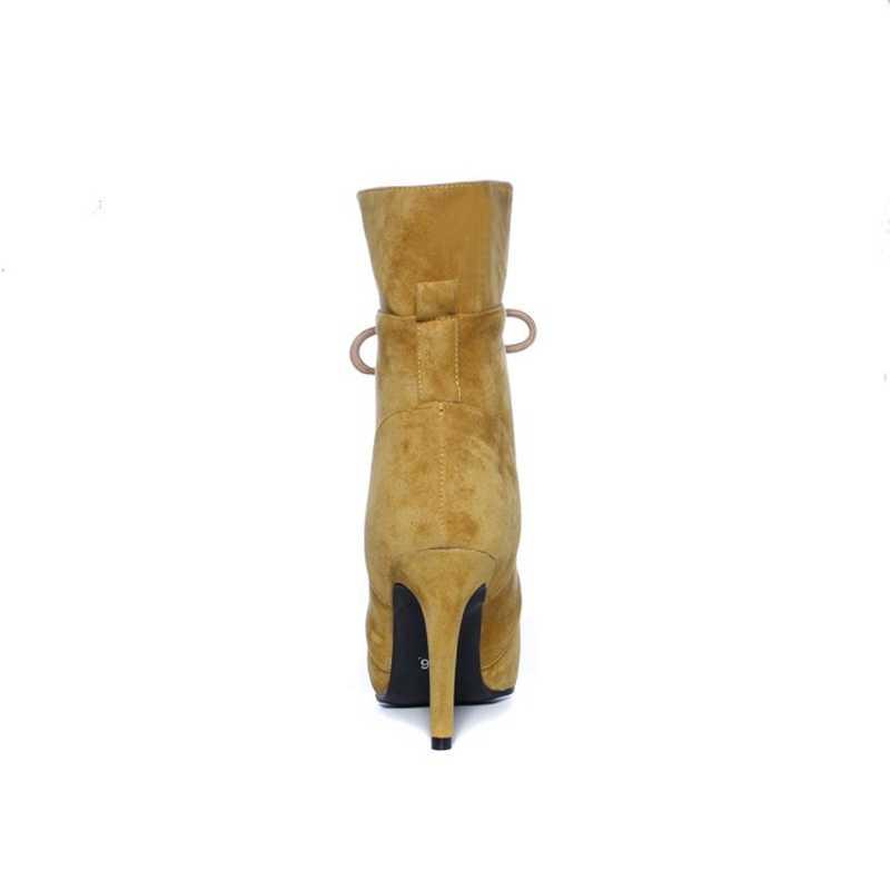 REAVE kedi kadın kış orta buzağı çizmeler sivri burun ince topuklu akın lace up çapraz bağlı sıcak kürk büyük boy 34-43 sarı rahat