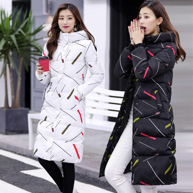 """Mới Mùa Đông 2020 Áo Khoác Nữ Dài Mỏng Parkas Plus Kích Thước Đen Trắng Dày Xuống Cotton Áo Lót Nữ Chaqueta Mujer """"LWL206"""