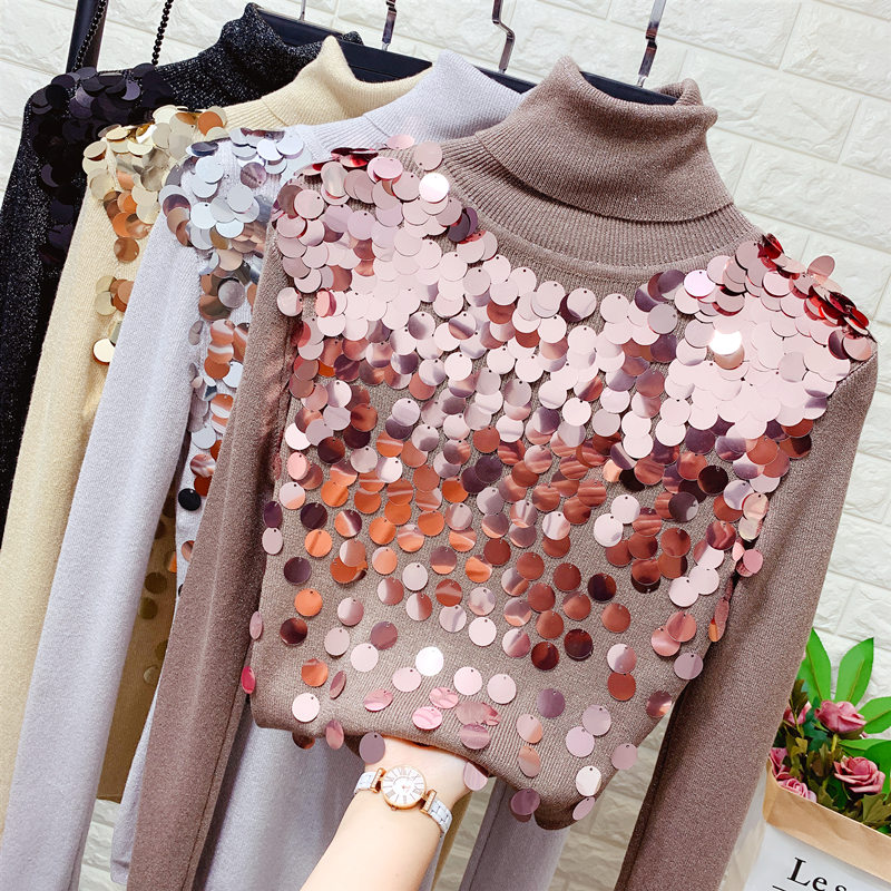 Turtle Neck Sequinned Sweater Women's Fall Winter Clothes Stretch Slim-Fit Sequin Sweater Female Turtleneck Jumper Pull Femme