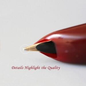 Image 4 - Hero 100 14K altın uçlu klasik dolma kalem otantik kalite Metal tüm çelik/yarı çelik üstün mürekkep kalem yazma hediye seti
