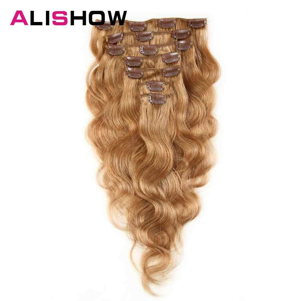 Alishow Body Wave 100g Clip in Human Hair Extensions Machine Made Remy Hair 100% Human Hair Extensions Full Head Natural Hair