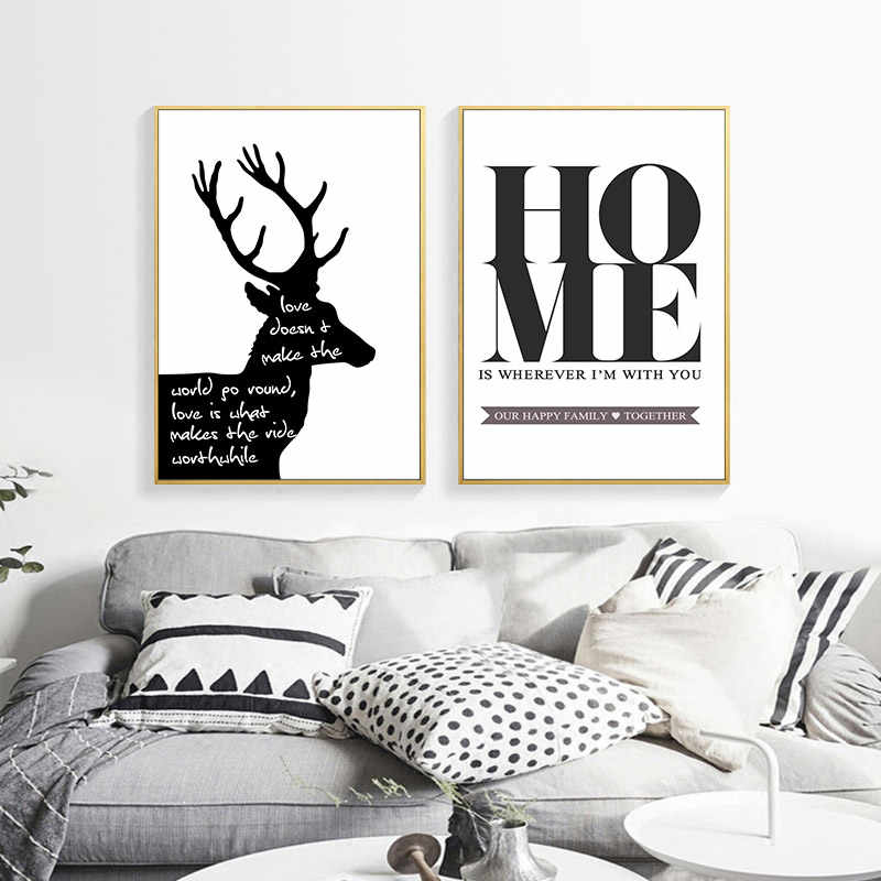 Nordic Black And White Sika Deer Canvas Letter Minimalist Painting Poster Wall And Print Art Living Room Bedroom Decoration