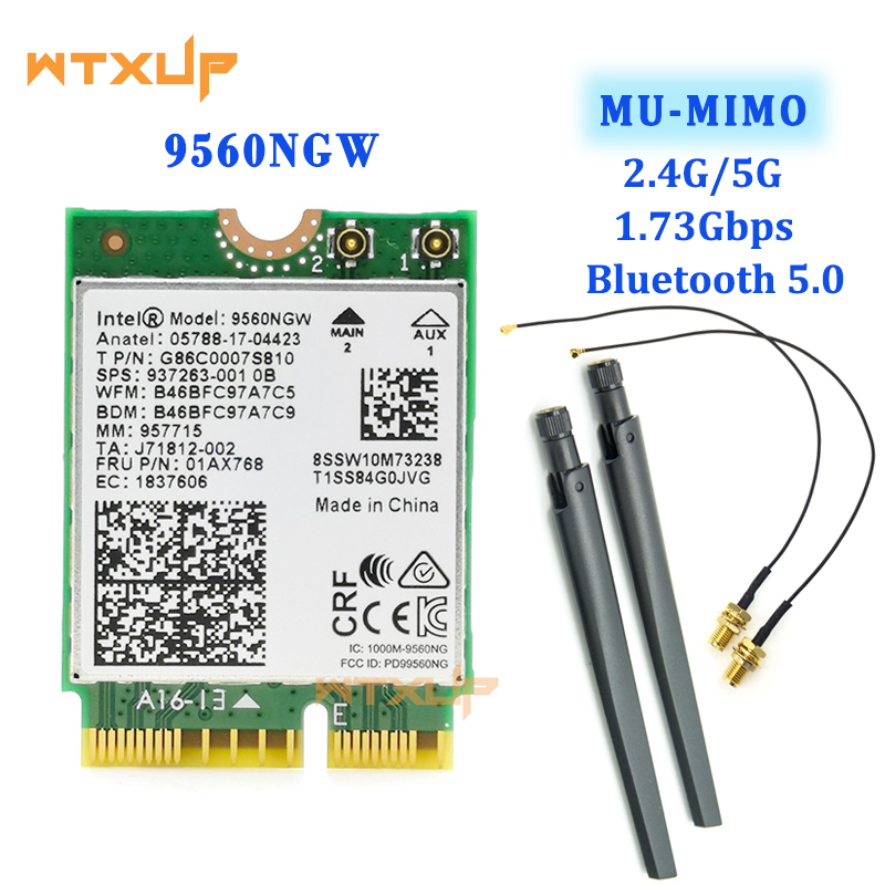 Dual Band 802.11ac For Intel 9560 9560NGW M.2 CNVio WiFi Bluetooth 5.0 laptop Card +IPEX MHF4 U.fl To RP-SMA External Antenna(China)