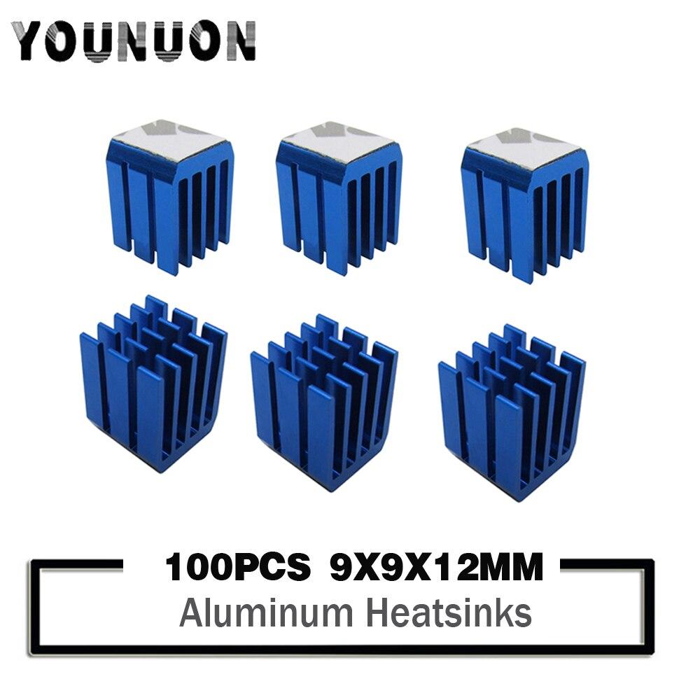 100PCS YOUNUON Aluminum Mini IC Chipset Cooling Cooler Heat Sink Heatsinks 9 X 9 X 12mm