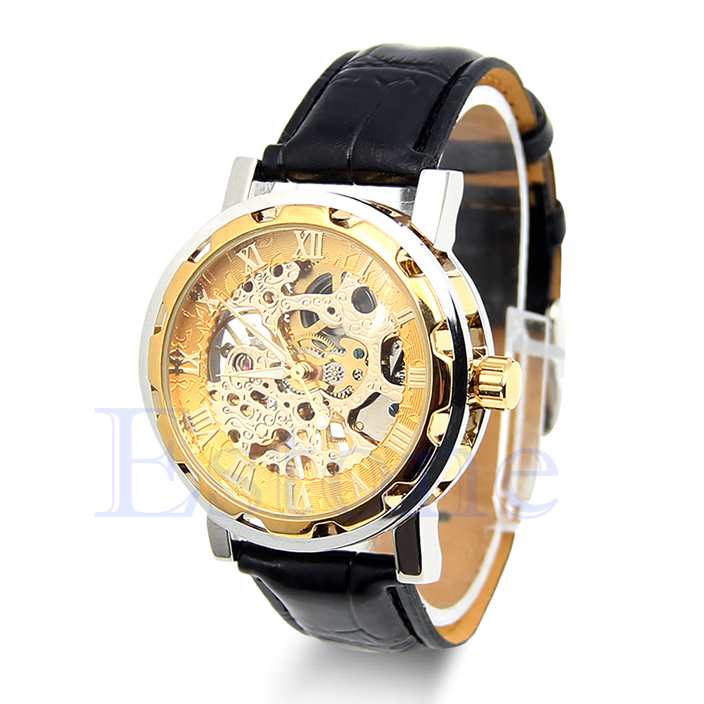 Mens Classic Black Leather Gold Dial Skeleton Mechanical Sport Wrist Watch