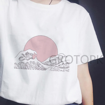 Japanese Style T-shirts for Women Sunset Over The Sea Harajuku White Tshirt Korean Tshirt Summer 2019 Tee Shirt Femme Vogue