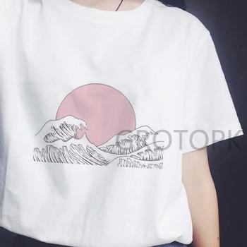 Japanese Style T-shirts for Women Sunset Over The Sea Harajuku White Tshirt Korean Tshirt Summer 2019 Tee Shirt Femme Vogue