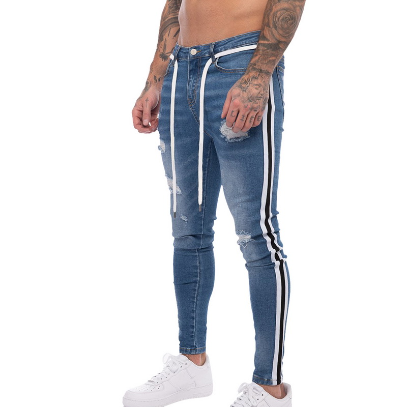 Men Fashion Side Stripped Jeans Ripped Jeans 2019 New Men Hole Distressed Patchwork Denim Pencil Pants Casual Slim Fit Jeans Hot