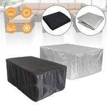 Housse de protection noire et argentée pour meubles d'extérieur, pour Patio, jardin, imperméable, anti-poussière, pour chaise, canapé, Table, neige, 32 tailles