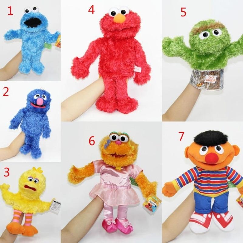 1pcs Sesame Street Plush Elmo Zoe Ernie Oscar Cookie Grover Bird Baby Birthdasy Party Hand Puppet New Gifts For Kids