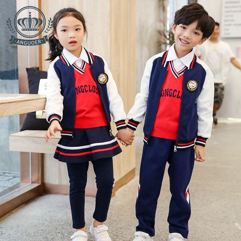 [Ann Fruit] Autumn New Style Young STUDENT'S Sports School Uniform Casual Fashion Kindergarten Suit