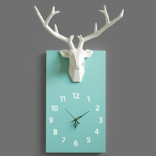 Nordic Simple Wall Clock Art Deer Wood Silent Creative Quartz Wall Clock Bedroom Home Decor Wall Clocks