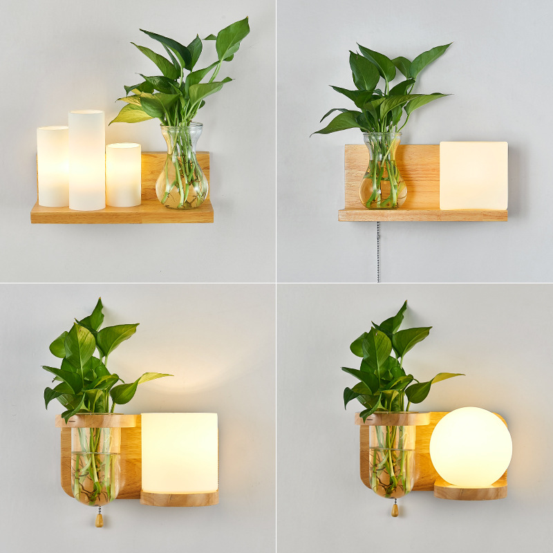 Nordic Wooden Wall Lamp Green Plant Glass Lampshade LED Indoor Wall Light For Bedside Entrance Corridor Home Lighting