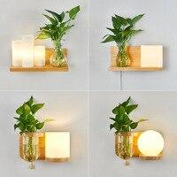 Nordic lâmpada de parede de madeira verde planta abajur vidro led interior luz para cabeceira entrada corredor iluminação casa Luminárias de parede     -