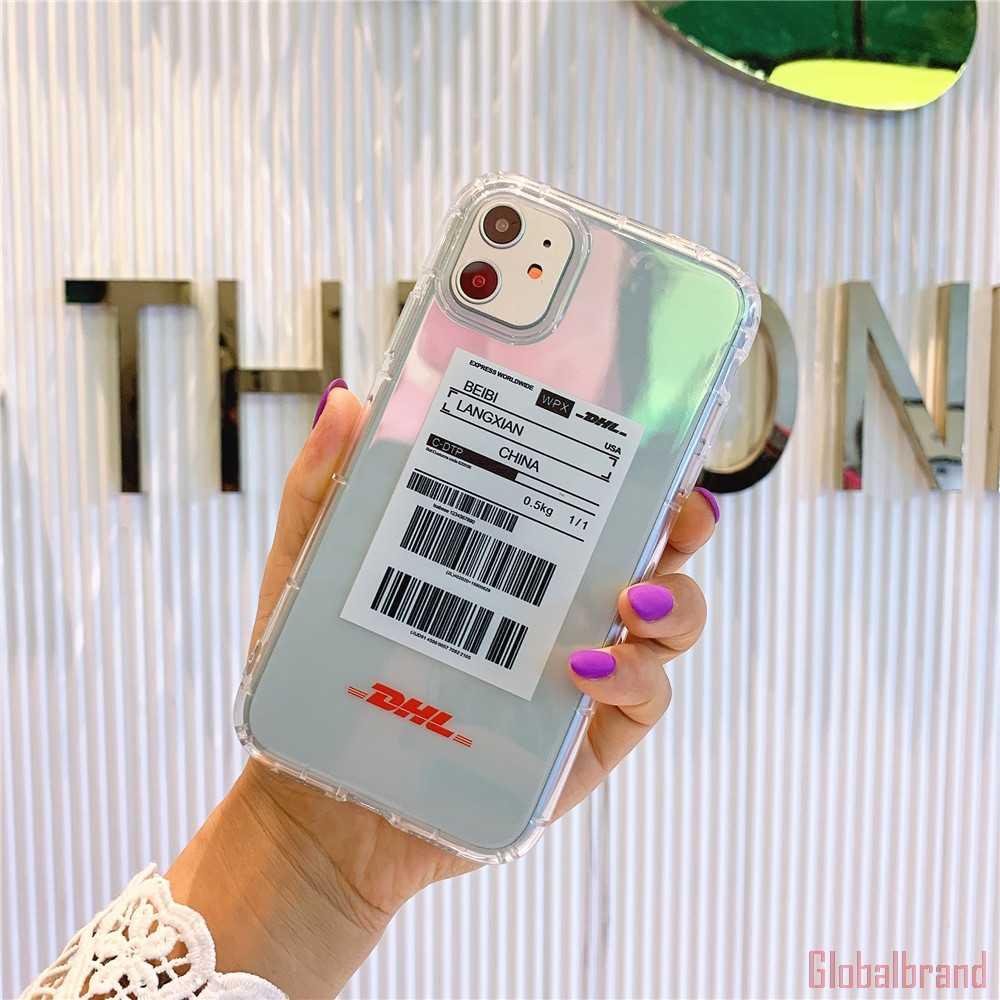Nóng Sọc Nhãn Trắng Vàng Logo Ốp Lưng Điện Thoại iPhone 7 8 6 S Plus 11 Pro X Xs Max XR Thương Hiệu Rõ Ràng Sau Mềm TPU Bao Fundas