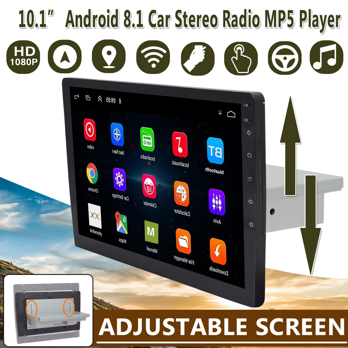 9 / 10.1 Car Multimedia Player Stereo 1Din Android 8.1 with Up Down Screen Adjustable Wifi bluetooth GPS Nav Radio Player image