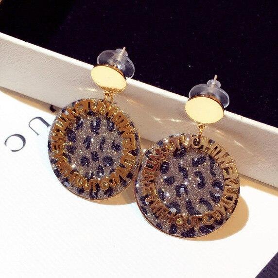 letter New fashion Korean silver needle earrings Leopard print round drop jewelry  trendy
